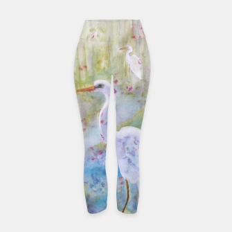 Thumbnail image of WHITE EGRET IN A COLORFUL POND Yoga Pants, Live Heroes