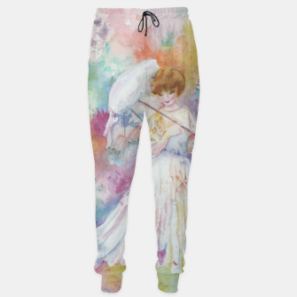 Thumbnail image of RAINING FLOWERS ON LADY WITH A PARASOLE Sweatpants, Live Heroes