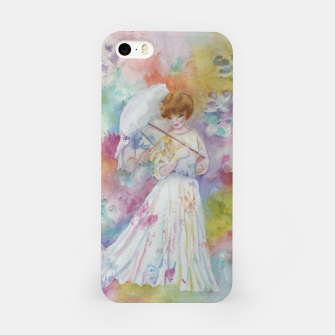 Thumbnail image of RAINING FLOWERS ON LADY WITH A PARASOLE iPhone Case, Live Heroes