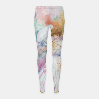 Thumbnail image of RAINING FLOWERS ON LADY WITH A PARASOLE Girl's Leggings, Live Heroes
