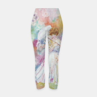 Thumbnail image of RAINING FLOWERS ON LADY WITH A PARASOLE Yoga Pants, Live Heroes