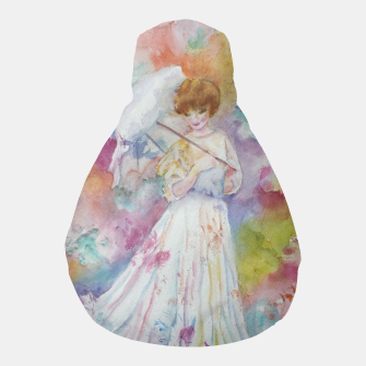 Thumbnail image of RAINING FLOWERS ON LADY WITH A PARASOLE Pouf, Live Heroes