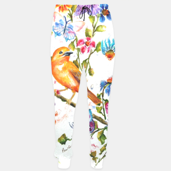 Thumbnail image of YELLOW BIRD HANGING WITH BUTTERFLIES AND FLOWERS Sweatpants, Live Heroes