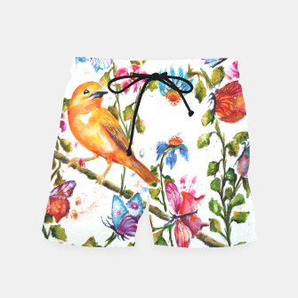 Thumbnail image of YELLOW BIRD HANGING WITH BUTTERFLIES AND FLOWERS Swim Shorts, Live Heroes