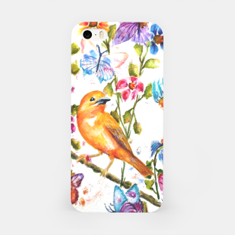 Thumbnail image of YELLOW BIRD HANGING WITH BUTTERFLIES AND FLOWERS iPhone Case, Live Heroes