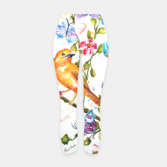 Thumbnail image of YELLOW BIRD HANGING WITH BUTTERFLIES AND FLOWERS Yoga Pants, Live Heroes