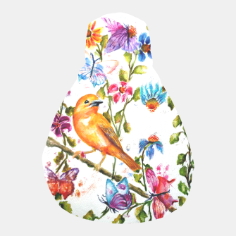 Thumbnail image of YELLOW BIRD HANGING WITH BUTTERFLIES AND FLOWERS Pouf, Live Heroes