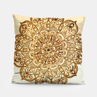 Thumbnail image of Black on White visionary mandala Pillow, Live Heroes