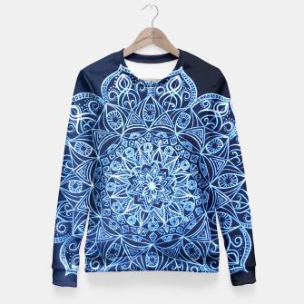Thumbnail image of White on Black Visionary Mandala Fitted Waist Sweater, Live Heroes