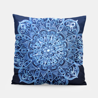 Thumbnail image of White on Black Visionary Mandala Pillow, Live Heroes