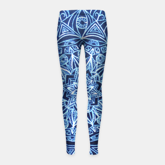 Thumbnail image of White on Black Visionary Mandala Girl's Leggings, Live Heroes
