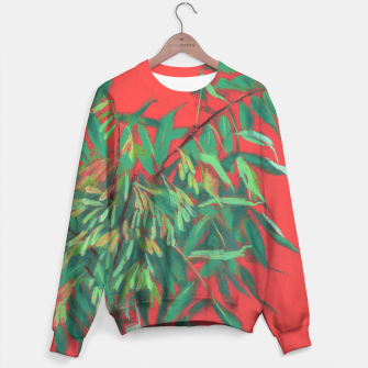 Thumbnail image of Ash-Tree in Green & Red, floral art, summer greenery Sweater, Live Heroes
