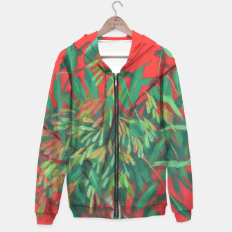 Thumbnail image of Ash-Tree in Green & Red, floral art, summer greenery Hoodie, Live Heroes