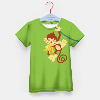 Thumbnail image of little monkey with banana Kid's T-shirt, Live Heroes