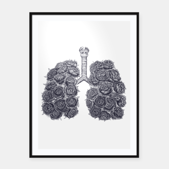 Thumbnail image of Lungs with peonies Framed poster, Live Heroes