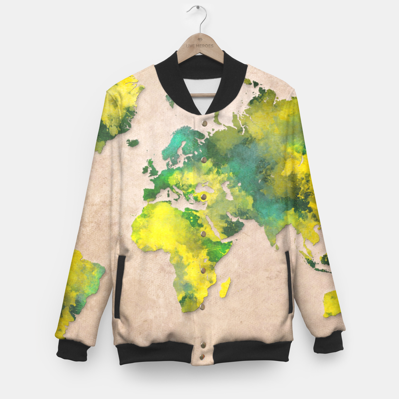 world map baseball jacket