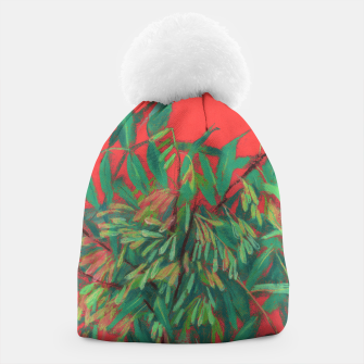 Thumbnail image of Ash-Tree in Green & Red, floral art, summer greenery Beanie, Live Heroes