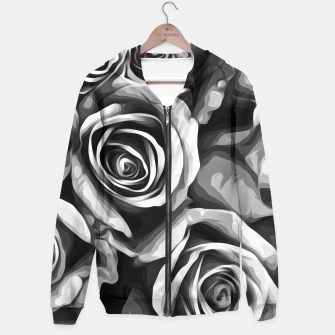 Thumbnail image of black and white roses texture background Hoodie, Live Heroes