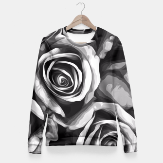 Thumbnail image of black and white roses texture background Fitted Waist Sweater, Live Heroes
