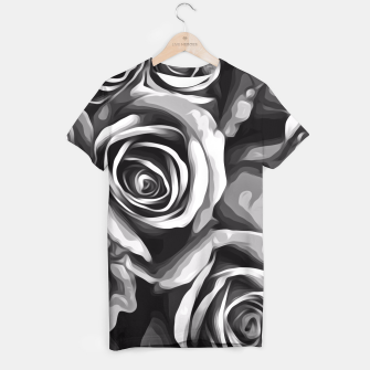 Thumbnail image of black and white roses texture background T-shirt, Live Heroes