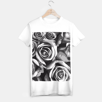 Thumbnail image of black and white roses texture background T-shirt regular, Live Heroes