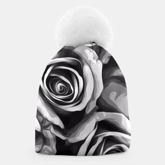 Thumbnail image of black and white roses texture background Beanie, Live Heroes