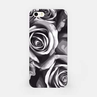 Thumbnail image of black and white roses texture background iPhone Case, Live Heroes