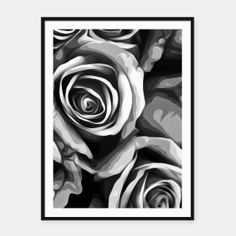 Thumbnail image of black and white roses texture background Framed poster, Live Heroes