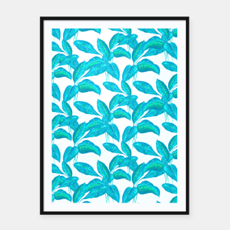 Thumbnail image of Spring Mint Rubber Leaves Pattern  Framed poster, Live Heroes