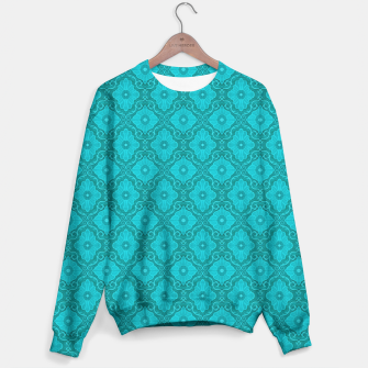 Turquoise flowers, floral pattern Sweater thumbnail image