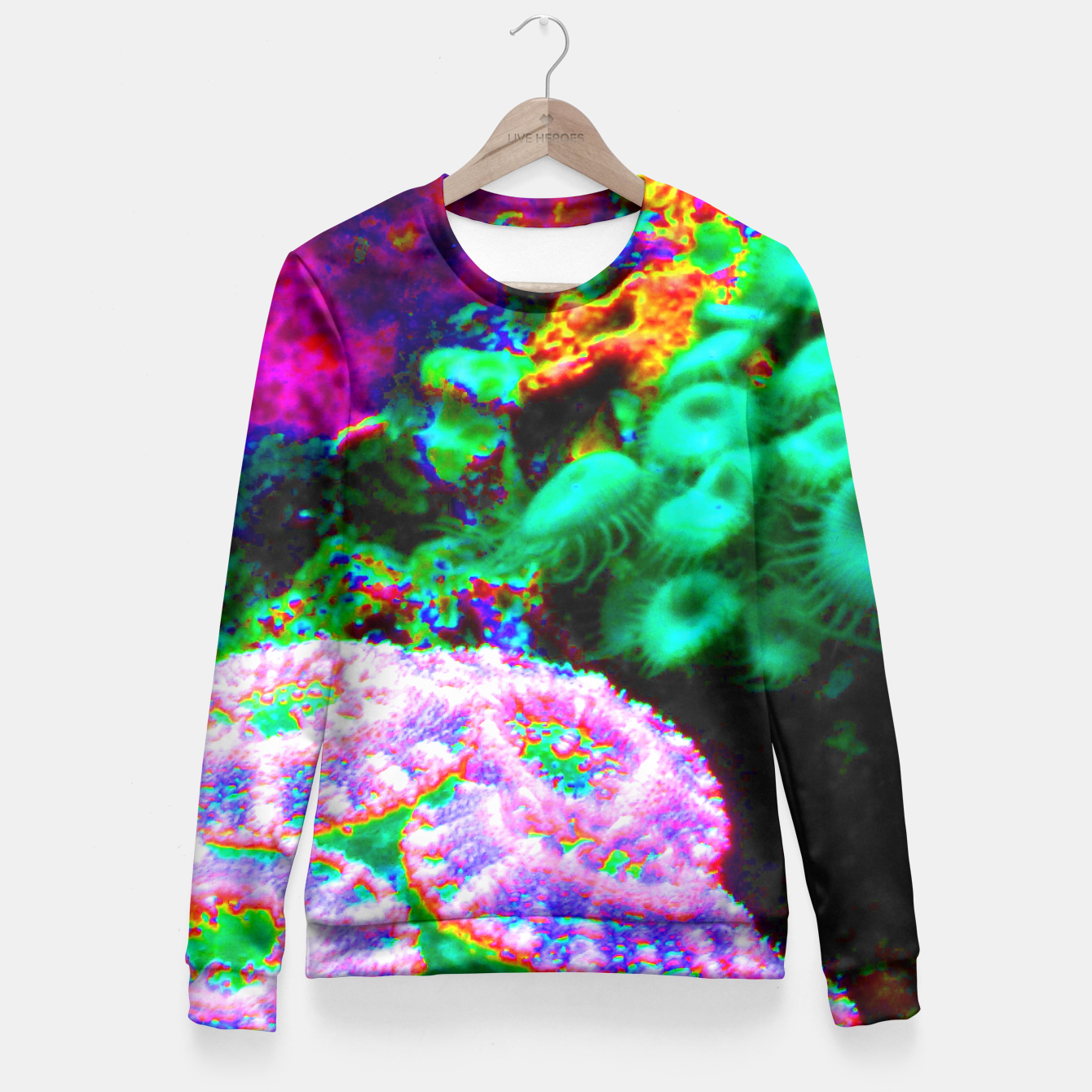 Image of Psychedelic coral landscape  Fitted Waist Sweater - Live Heroes