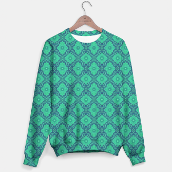 Green Flowers, vintage floral pattern Sweater thumbnail image