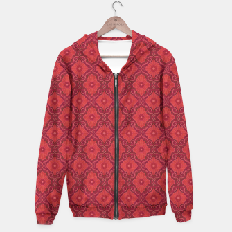 Red Flowers, floral arabesque Hoodie thumbnail image