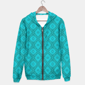 Turquoise flowers, floral pattern Hoodie thumbnail image