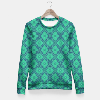 Green Flowers, vintage floral pattern Fitted Waist Sweater thumbnail image