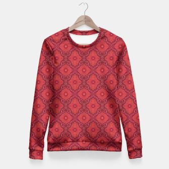 Red Flowers, floral arabesque Fitted Waist Sweater thumbnail image