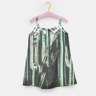 Thumbnail image of cactus with green and white wooden fence background Girl's Dress, Live Heroes