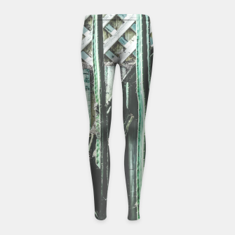 Thumbnail image of cactus with green and white wooden fence background Girl's Leggings, Live Heroes