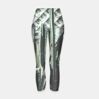 Thumbnail image of cactus with green and white wooden fence background Yoga Pants, Live Heroes