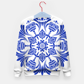 Miniatur Ornaments Royal Crown Mandala Blue Kindersweatshirt, Live Heroes
