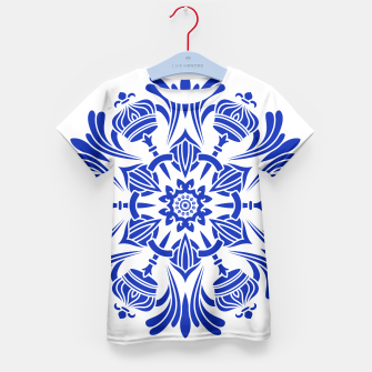 Miniatur Ornaments Royal Crown Mandala Blue T-Shirt für Kinder, Live Heroes