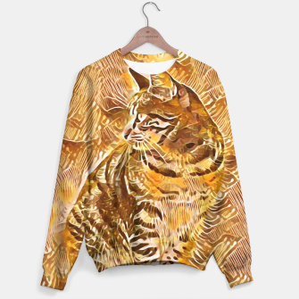 Miniatur Abstract Painting CAT Brown Orange Sweatshirt, Live Heroes