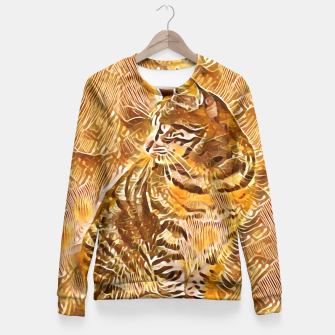 Miniatur Abstract Painting CAT Brown Orange Taillierte Sweatshirt, Live Heroes