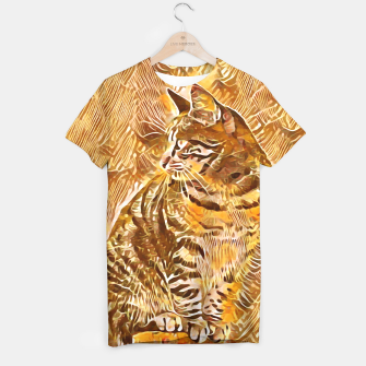 Miniatur Abstract Painting CAT Brown Orange T-Shirt, Live Heroes