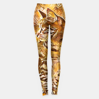 Miniatur Abstract Painting CAT Brown Orange Leggings, Live Heroes