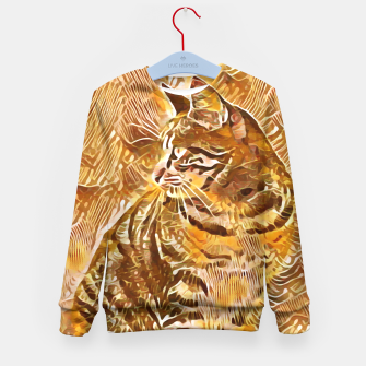 Miniatur Abstract Painting CAT Brown Orange Kindersweatshirt, Live Heroes