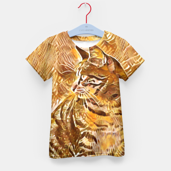 Miniatur Abstract Painting CAT Brown Orange T-Shirt für Kinder, Live Heroes