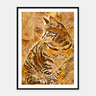 Miniatur Abstract Painting CAT Brown Orange Plakat mit rahmen, Live Heroes