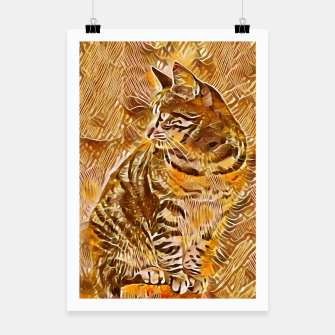 Miniatur Abstract Painting CAT Brown Orange Plakat, Live Heroes