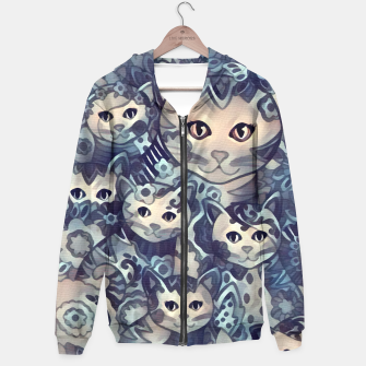 Miniatur Painting Mother Cat with Kitties Blue Sand Kapuzenpullover, Live Heroes